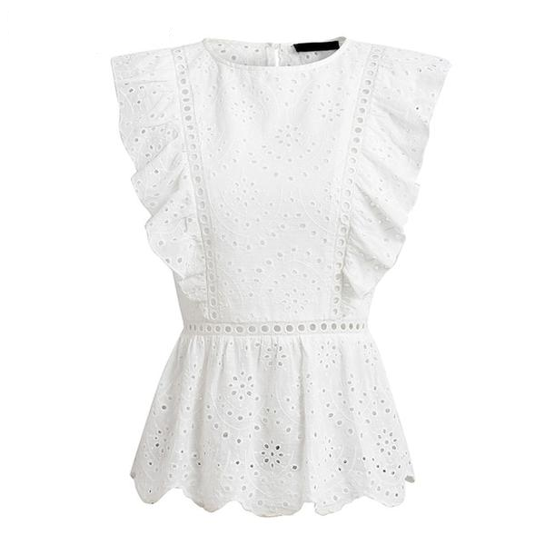Morgan Ruffled Eyelet Top
