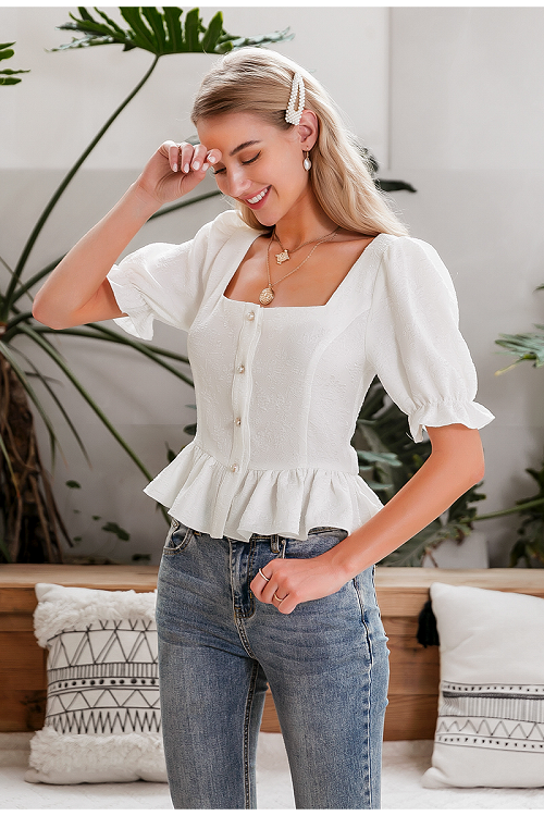 Nicole Puff Sleeve Peplum Top