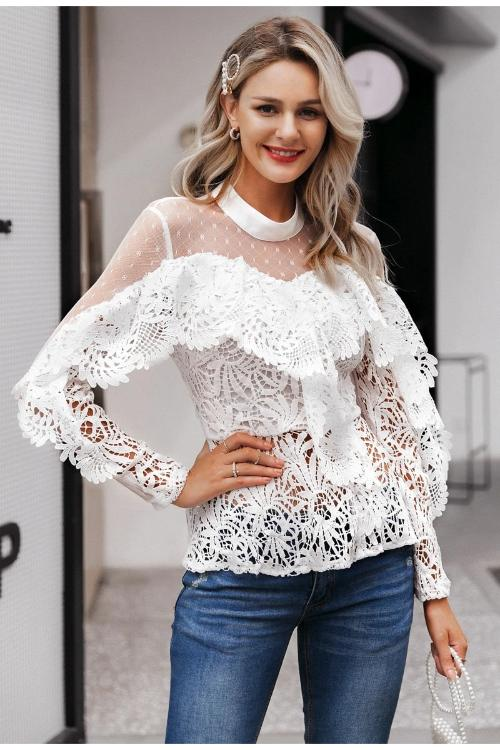 Una Ruffled Lace Top