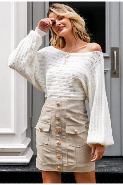 Mariel Off Shoulder Knit Sweater