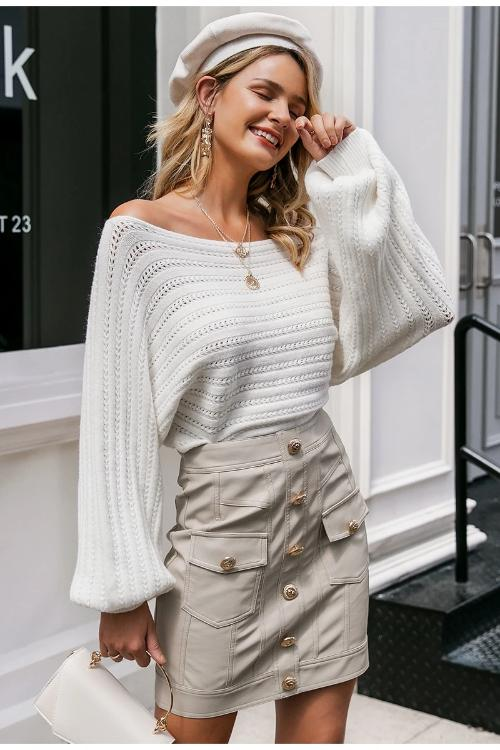 Girl wearing white Mariel Off Shoulder Knit Sweater, buttoned mini skirt, beret hat  and white handbag