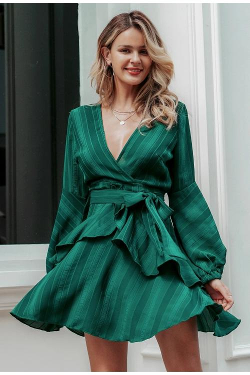 Wynona Ruffled Green Dress