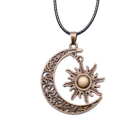 Crescent Moon And Sun Charm Pendant, Necklace, Colour Qilmily Store, lovepeaceboho