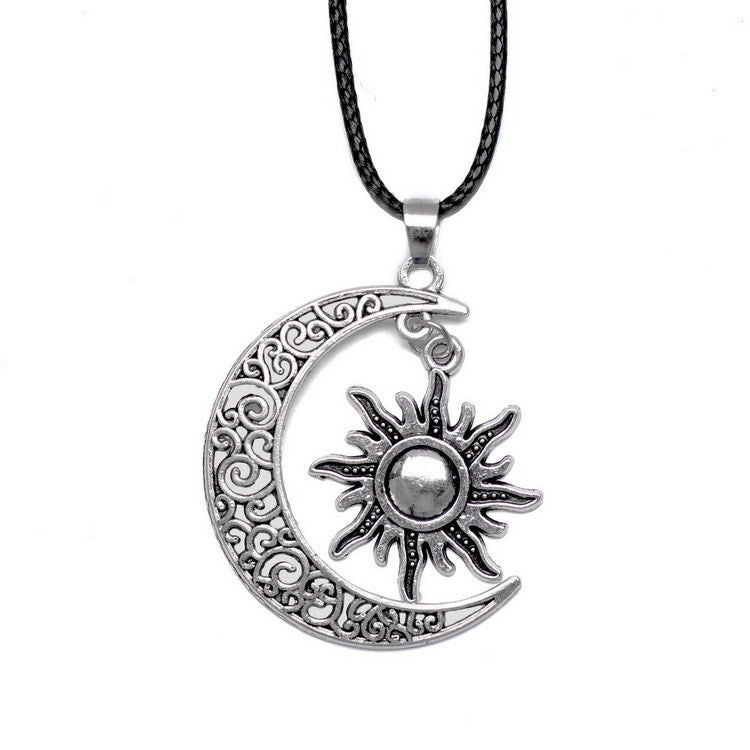 Crescent Moon And Sun Charm Pendant
