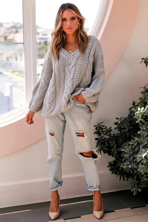 Jaana V-Neck Cable Knit Sweater