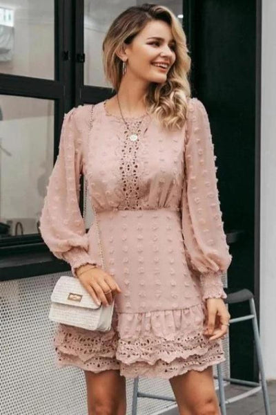 Girl wearing classy and boho Christy Embroidered Chiffon Dress