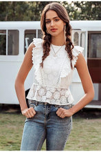 Load image into Gallery viewer, Girl wearing Maica Ruffled Lace Top, jeans, hoop earrings and boho necklace.