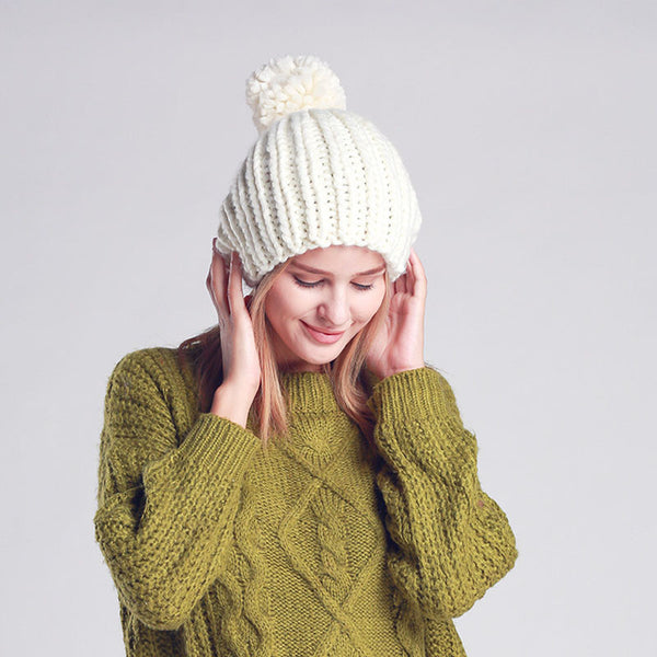 Top Pom Pom Knitted Beanie