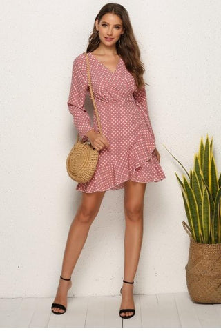 Kyra Polka Dot Wrap Dress