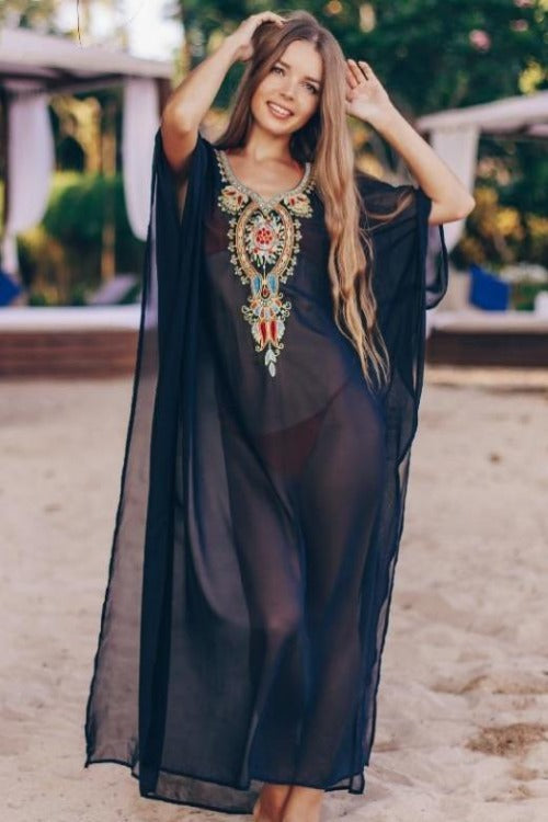 Mireya Embroidered Kaftan Dress