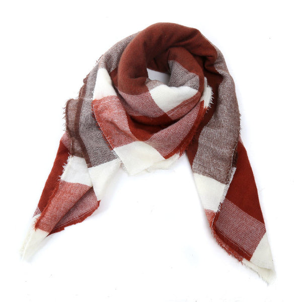 Square Plaid Cashmere Scarf
