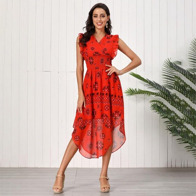 Eleonor Red Prints Dress