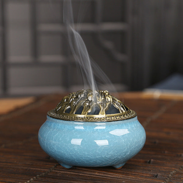 Celadon Ceramic Burner, Backflow Incense Burner, Ceramic Burner, lovepeaceboho