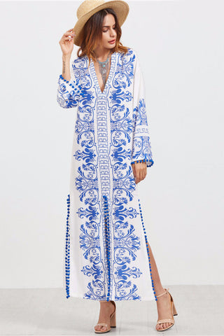 Blue and White Vintage Print Dress, V-Neck, Printed Dress, Long Sleeve, Long Dress, lovepeaceboho