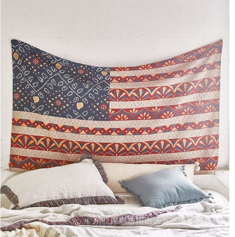 Bohemian USA Flag Tapestry (200x148cm), Decorative Flag, USA Flag, Bohemian, Room Decoration, Tapestry, lovepeaceboho