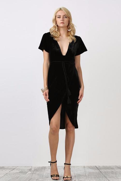 Maribelle Black Velvet Dress