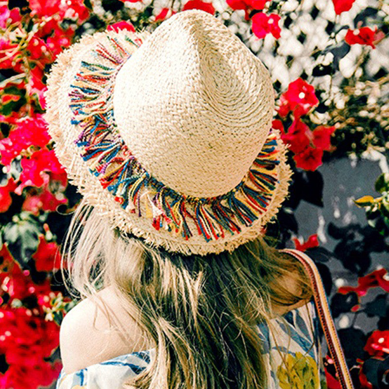 Raffia Straw Hat, Straw Hat, Head Cover, Hat, Colorful Tassels Decorations, Chic Hat, lovepeaceboho