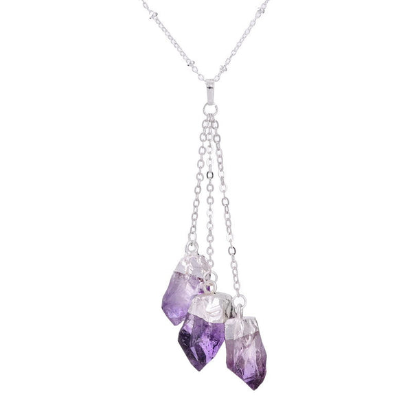 Silver Dipped Amethyst/Citrine Quartz Crystal Cluster Necklace, Necklace, Colour Qilmily Store, lovepeaceboho