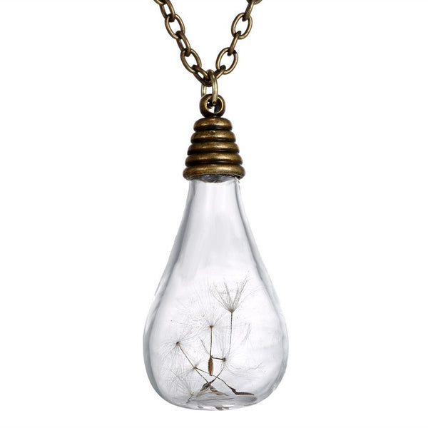 Make a Wish Glass Bulb Necklace, Necklace, Rinhoo Jewelry, lovepeaceboho