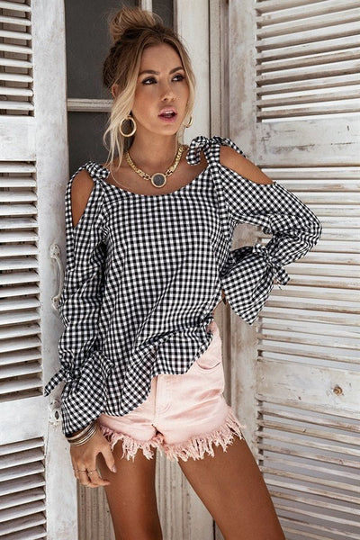 Jenna Bow Plaid Blouse