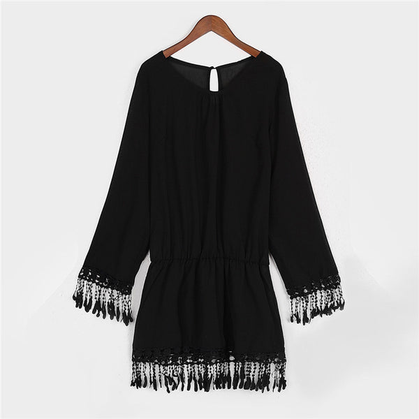 Sheer Tassel Chiffon Dress