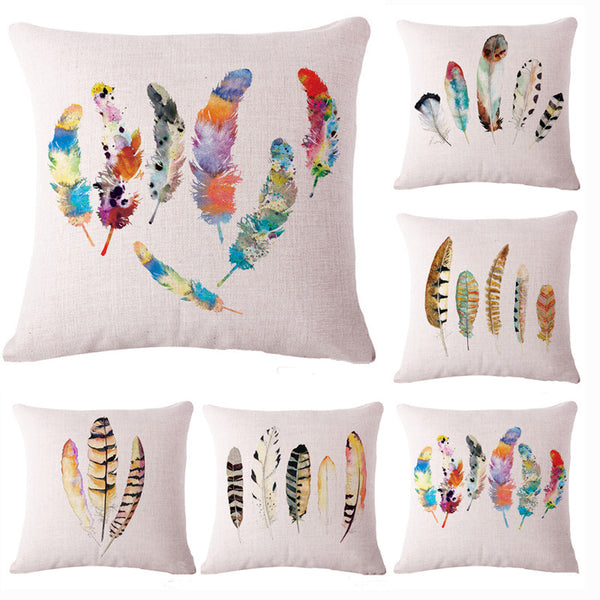 Watercolor Feathers Pillow Cover, Home, Ourhome, lovepeaceboho