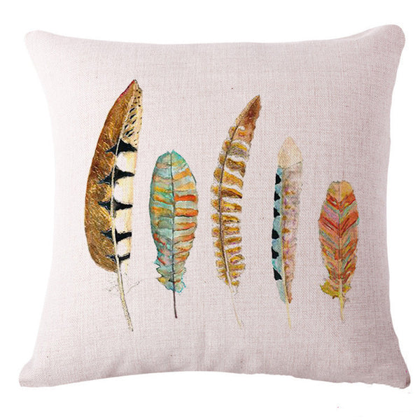 Watercolor Feathers Pillow Cover