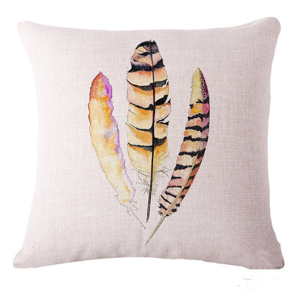 Watercolor Feathers Pillow Cover, Home, lovepeaceboho, lovepeaceboho