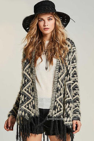 Colly Geometric Tasseled Cardigan