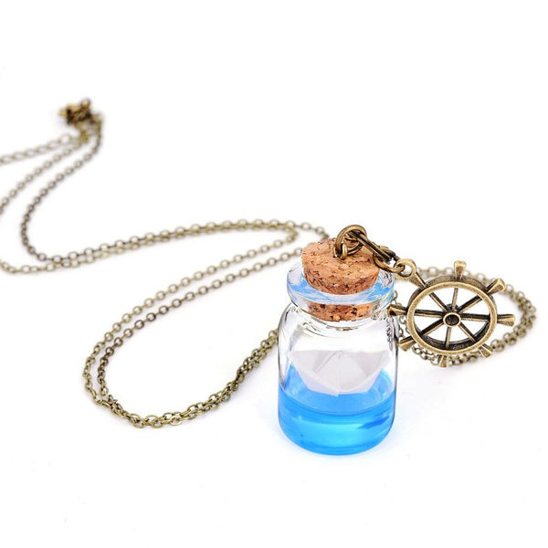 Origami Boat Bottle Necklace