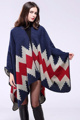 Chevron Poncho [8 Variants], Poncho, Long Sleeve, Chevron Design, lovepeaceboho