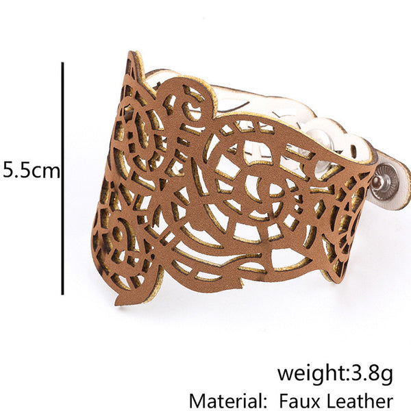 Faux Leather Laser Cut Bracelet