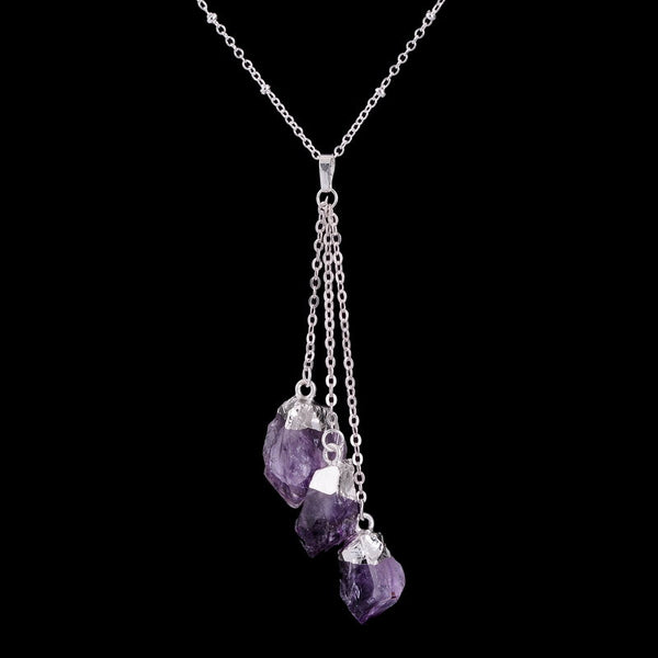 Silver Dipped Amethyst/Citrine Quartz Crystal Cluster Necklace