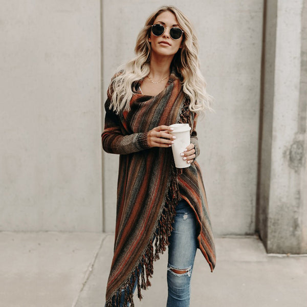 [FINAL SALES] Adrianna Striped Fringe Shawl