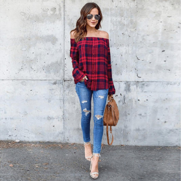 Rachel Off Shoulder Plaid  Top