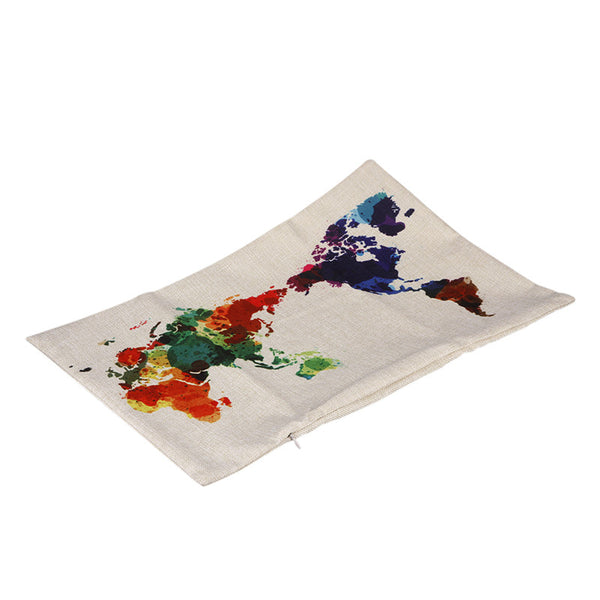 Colorful World Map Cushion Cover