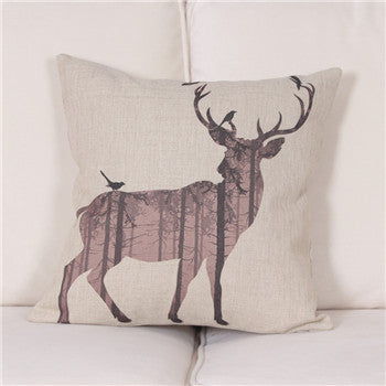 Watercolor/Pencil Drawing Deer Cushion Cover, Home, lovepeaceboho, lovepeaceboho