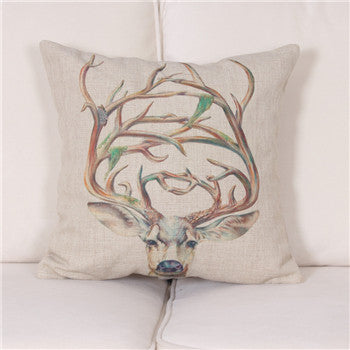 Watercolor/Pencil Drawing Deer Cushion Cover