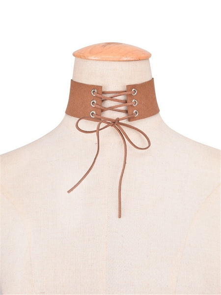 Handmade Lace Up Choker