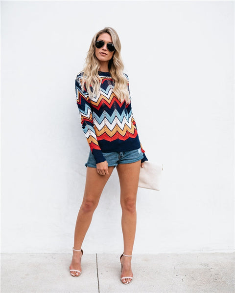 Colorful Knit Pullover Top