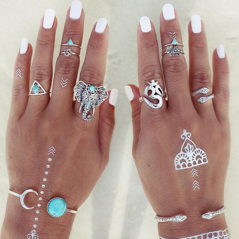 8-Piece Set Elephant Om Ring Set, Rings, sanhe 888 Store, lovepeaceboho