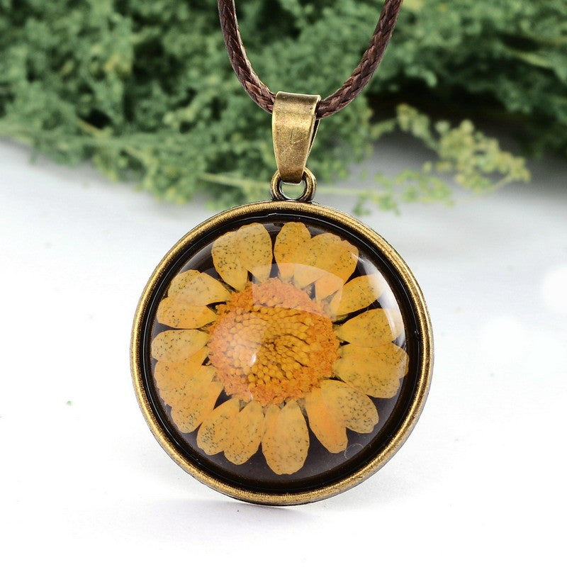 Dried Yellow Flower Necklace, Necklace, Flower Pendant, lovepeaceboho