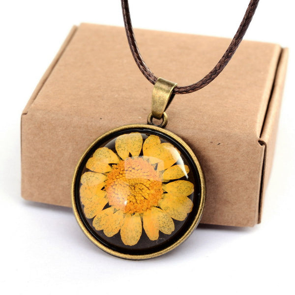 Dried Yellow Flower Necklace