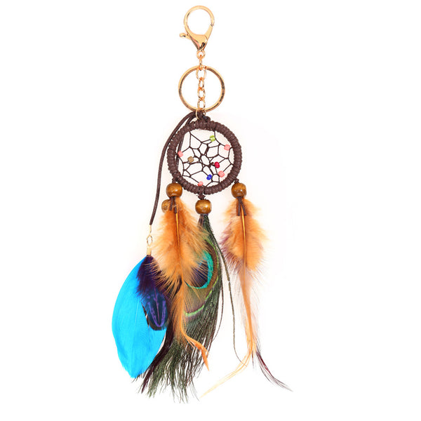 Dream Catcher Keychain With Peacock Feather, Key Chain, Dream Catcher, Peacock Feather, lovepeaceboho