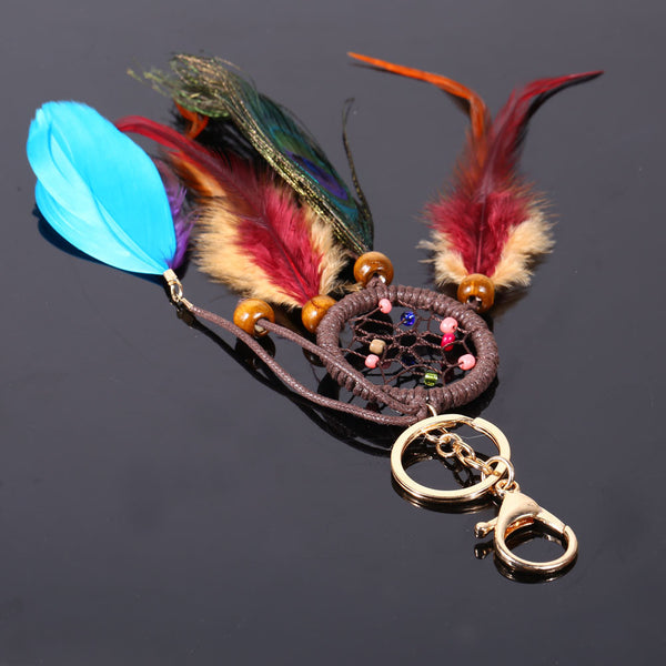 Dream Catcher Keychain With Peacock Feather