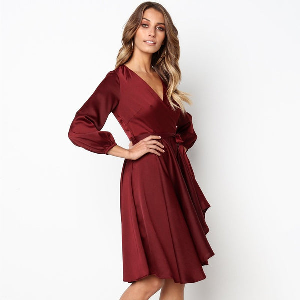 Dark Rose Wrap Midi Dress