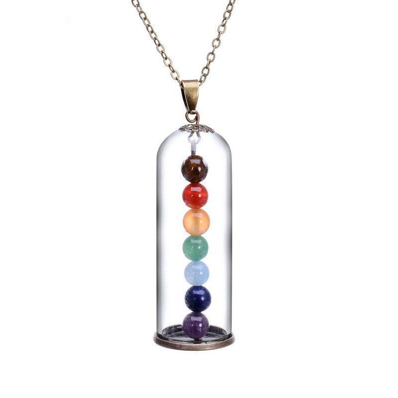 Chakra 7 Colors Beads Floating Necklace, Necklace, Colour Qilmily Store, lovepeaceboho
