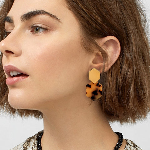Athena Polygon Drop Earrings