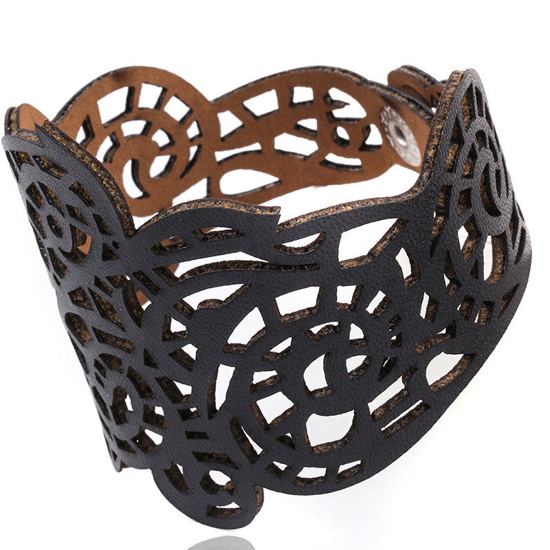 Faux Leather Laser Cut Bracelet, Bracelet, Leather, lovepeaceboho