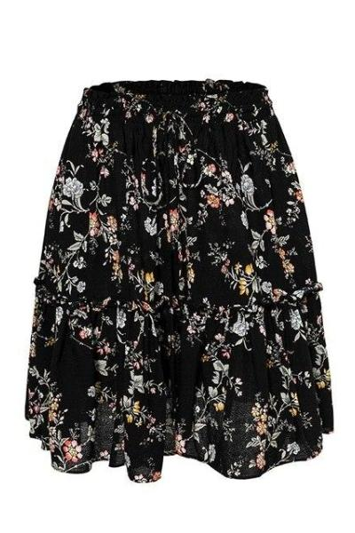 Alin Black Floral Skirt